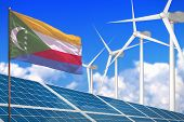 Comoros Solar And Wind Energy, Renewable Energy Concept With Windmills - Renewable Energy Against Gl poster