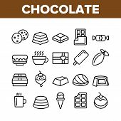 Chocolate Collection Elements Icons Set Vector Thin Line. Chocolate Cookies And Candy, Ice Cream And poster