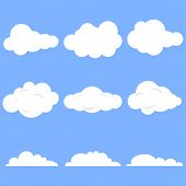 Clouds, Set Of Realistic White Clouds On A Blue Background. Cartoon Clouds. poster