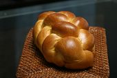 stock photo of doughy  - challah bread in a basket - JPG