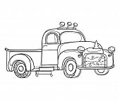 Vector Drawing Of Outline Vintage Old Pickup Truck With Christmas Tree Garland In Black Isolated On  poster