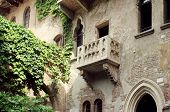 picture of juliet  - The famous antique facade of the building with the balcony of Juliet Capulet in Verona Italy - JPG