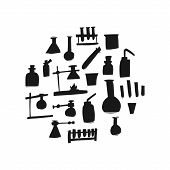 Glassware For Chemical Experiments, Hand Drawn Sketch. Scientific Inventions Use Various Glass Devic poster