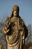 Statue Of The Jesus Of Nazareth. Jesus Christ. Fragment Of Sculpture. Vintage Styled Image Of Ancien poster