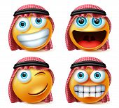Saudi Arab Emojis Vector Set. Saudi Arab Emoticon Or Emoji Face In Excited, Angry And Naughty Expres poster