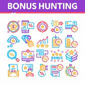 Bonus Hunting Collection Elements Icons Set Vector Thin Line. Magnifier And Bag With Percent Mark, S poster