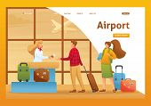 Passengers Are Checked In For A Flight, Vacation, Flight To Another Country. Flat 2d Character. Land poster