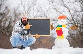 Winter Announcement. Hipster Knitted Hat And Gloves Show Blackboard. Winter Event. Upcoming Event. M poster