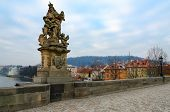 Sculptural Compositions Of Charles Bridge, Prague, Czech Republic. Saint Ludmila, Czech Princess, Fi poster