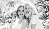 Sisterhood Concept. Friendship Meeting. Girls Friends Nature Background. Friendly Close Relations. R poster