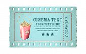 illustration of movie ticket in shape of film reel with popcorn tub