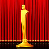 illustration of gold award in shape of male statue on stage curtain backdrop