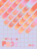 Music Cover In Blue, Cyan, Pink, Orange Colors. Rock Concert Flyer. Minimal Line Brochure. Gradient  poster