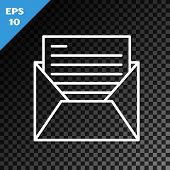 White Line Mail And E-mail Icon Isolated On Transparent Dark Background. Envelope Symbol E-mail. Ema poster