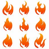 Flame, Flame Icon. Vector Flame Illustration Isolated On White. poster