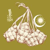 picture of jawi  - Vector Hand Drawn Ketupat - JPG