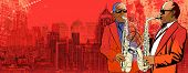 Illustration of two saxophonist over a background panoramic view of modern city