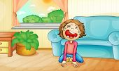Illustration of a kid crying at home