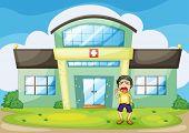 Illustration of a boy crying at hospital