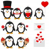 Cute Lovely Penguin Boy And Girl Couple In Love Set Isolated On White Background - With Heart, Heart poster