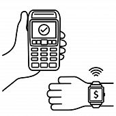 Nfc Payment Vector Outline. Confirmation Of Contactless Payment Machines From Smart Watches. Vector  poster