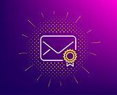Verified Mail Line Icon. Halftone Pattern. Confirmed Message Correspondence Sign. E-mail Symbol. Gra poster