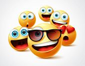 Emojis Famous Celebrity Vector Concept. Famous Emoticon Yellow Faces Group In 3d Realistic Avatar Wi poster