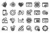 Seo Icons. Website Stats, Target And Increase Sales Signs. Traffic Management, Social Network And Se poster