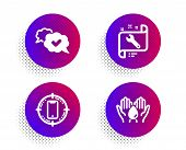 Spanner, Smartphone Target And Approved Icons Simple Set. Halftone Dots Button. Safe Water Sign. Rep poster