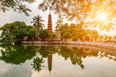 Tran Quoc Pagoda In The Morning, The Oldest Temple In Hanoi, Vietnam. poster