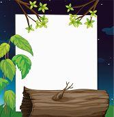pic of hollow log  - Illustration of a log nature scene on paper  - JPG