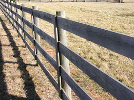 foto of wooden fence  - wooden fence around pasture - JPG