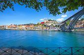 pic of dom  - Oporto or Porto city skyline Douro river and Dom Luis or Luiz iron bridge - JPG