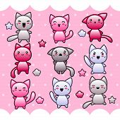 stock photo of kawaii  - Card with cute kawaii doodle cats - JPG