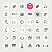 stock photo of cash register  - Set of different vector shopping icons for web design - JPG