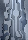 Three-dimensional Silhouette Of An Abstract Pattern Composed Of Metal