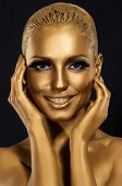 Coloring & Glance. Gorgeous Woman Smiling. Fantastic Golden Makeup. Art