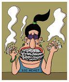 A heavy smoker woman