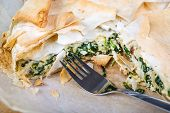 Delicious Spinach And Feta Cheese Pie, With Filo Pastry