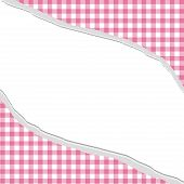 Pink Gingham Torn Background For Your Message Or Invitation