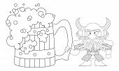 Dwarf with great beer mug, contour
