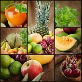 Fruta fresca y zumos Collage