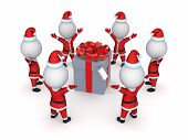 Santas around giftbox.