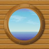 Sea in a ship window