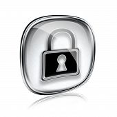 Lock Icon Grey Glass, Isolated On White Background.