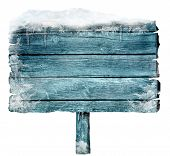Wooden Sign In Winter