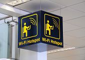 Airport wi-fi hotspot sign.