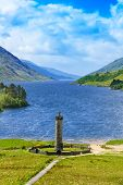 Glenfinnan Monument And Loch Shiel Lake. Highlands Scotland