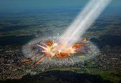 stock photo of zurich  - Asteroid hitting the Earth in Zurich - JPG