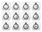 stock photo of gey  - Timer measuring different time icons on modern gey square buttons isolated on white - JPG